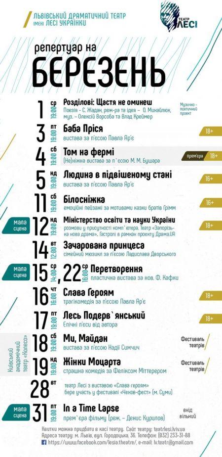 Афіша на березень 2017. Львівський театр ім. Лесі Українки
